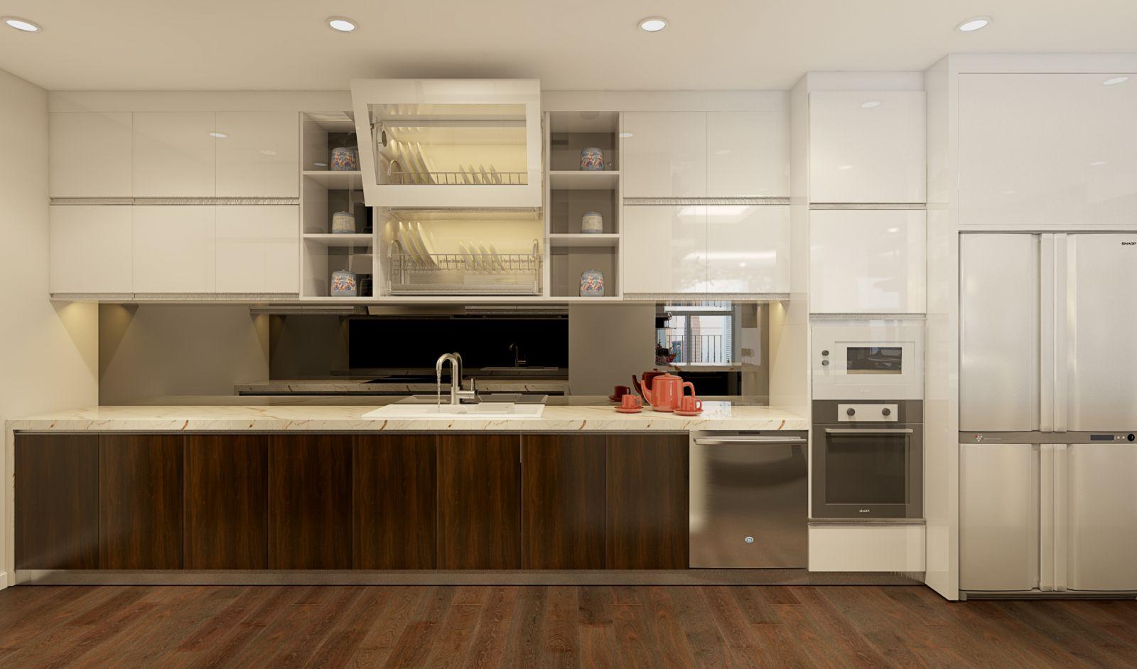 Thiết kế nội thất chung cư phòng bếp và khu vực ăn uống