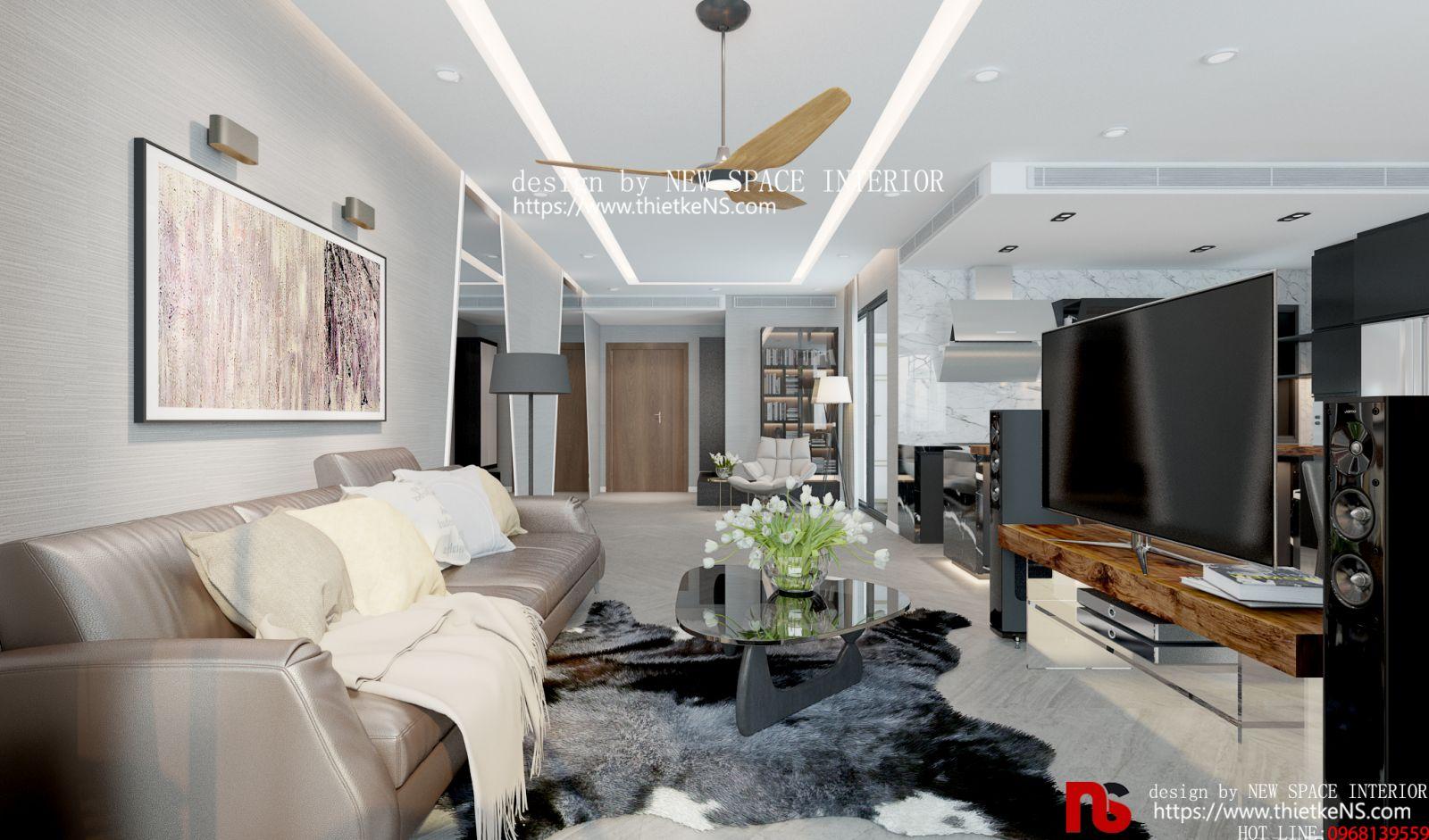 Thiết kế nội thất phòng chung cư khách hiện đại
