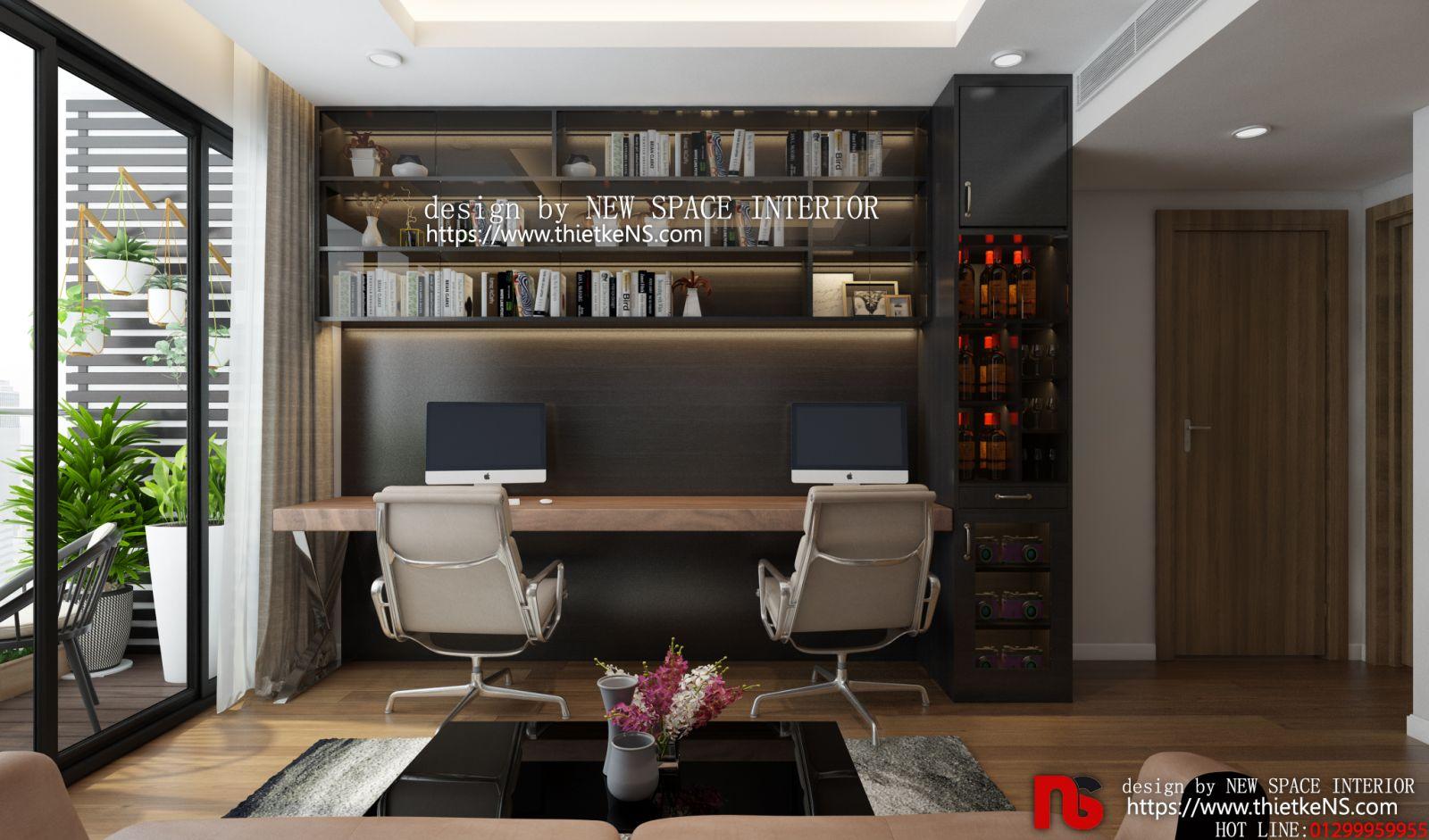 Không gian thiết kế nội thất chung cư phòng làm việc