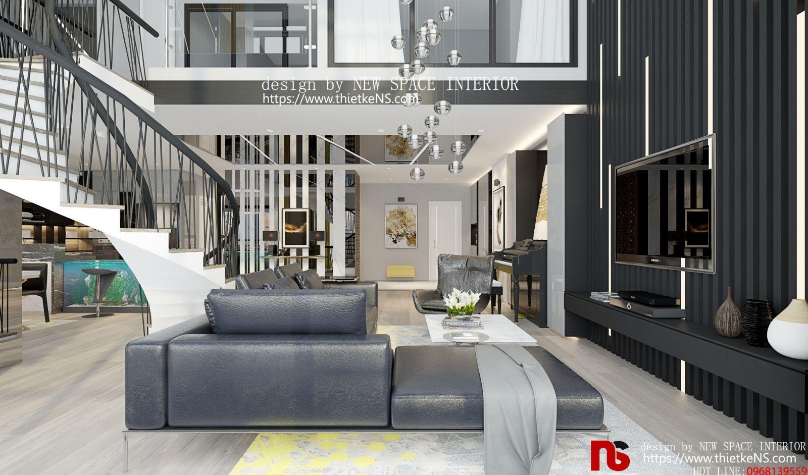 Thiết kế nội thất chung cư phòng khách không thua kém các căn biệt thự hạng sang.