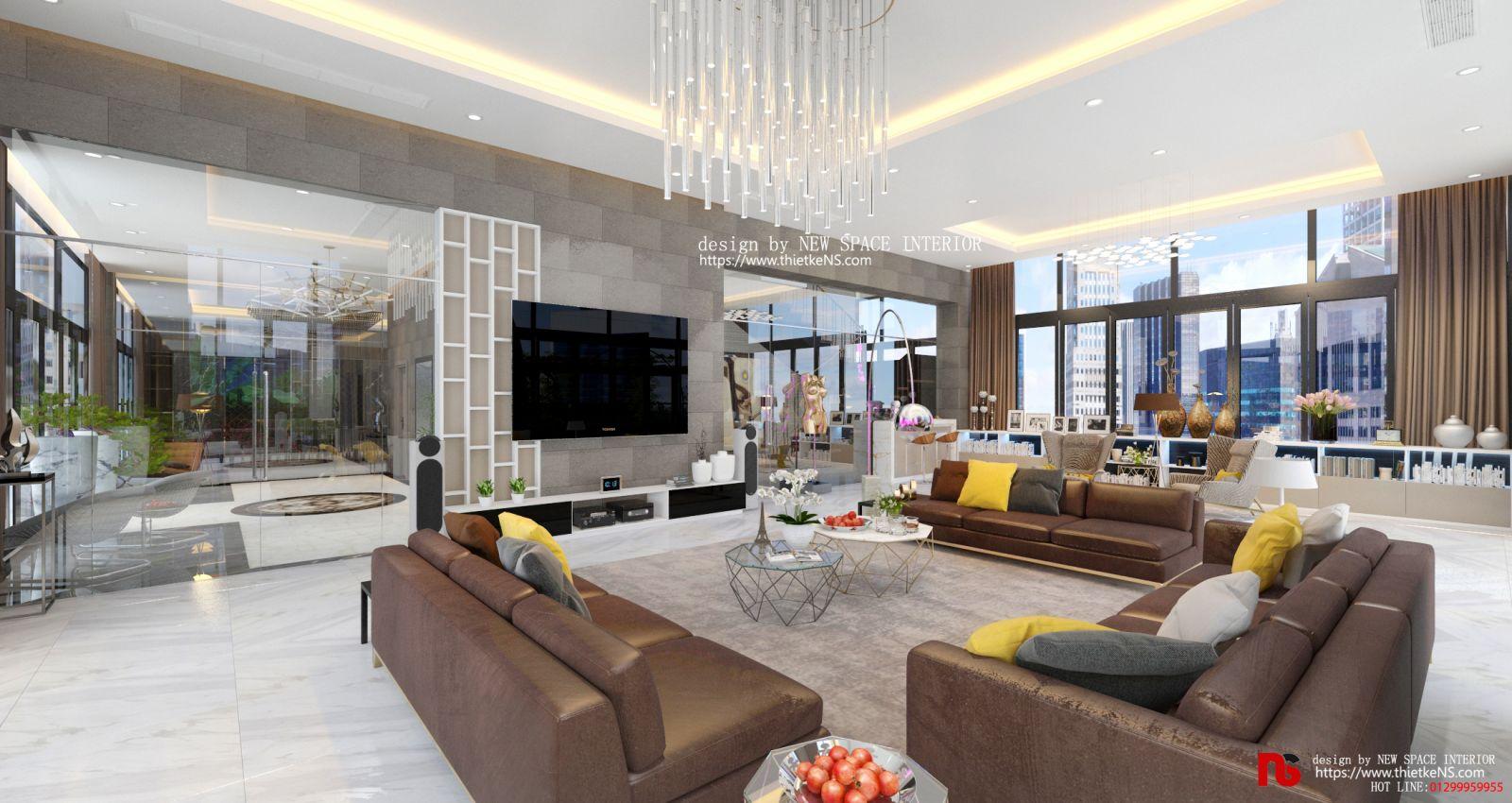 Thiết kế nội thất chung cư phòng khách sang trọng