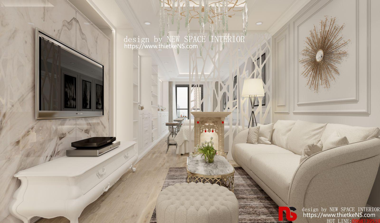 Thiết kế nội thất chung cư GoldSeason 01 cho phòng khách
