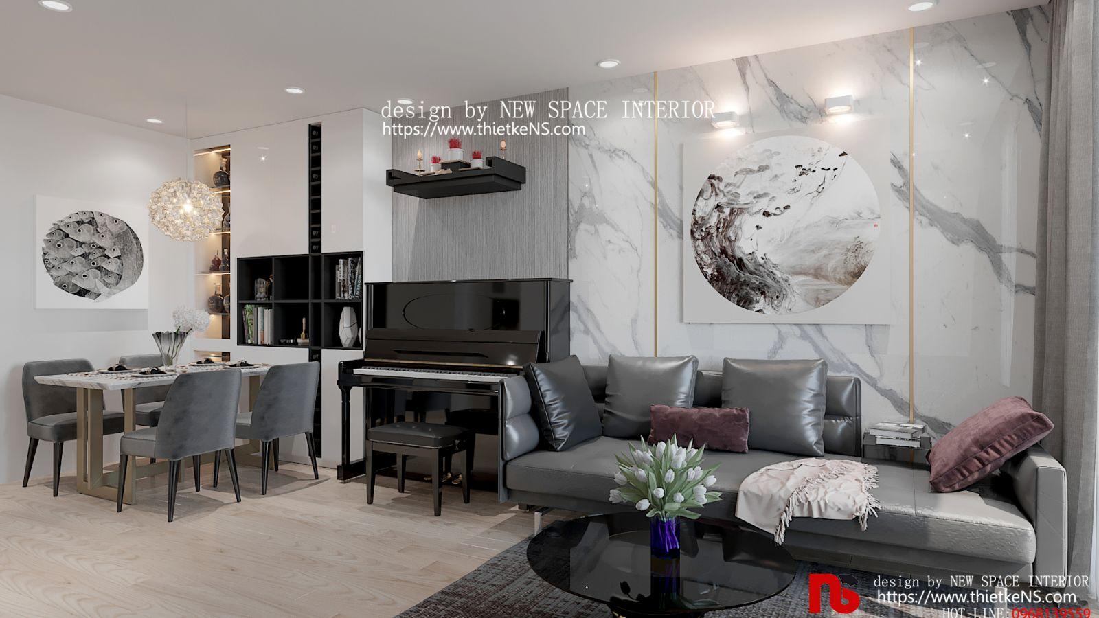 Không gian thiết kế nội thất chung cư phòng khách